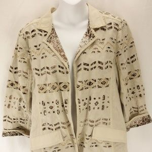 CHICOS Open Front Jacket Animal Print 100% Cotton